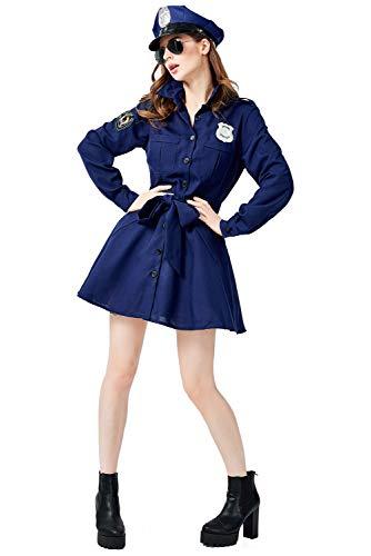 Disfraz de Policia Para Mujer Disfraz de Policia Vestido Largo de Fantasia Azul con Capucha y Uniforme de Cinturon para Fiesta de Halloween Carnaval Cosplay,M