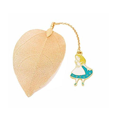 Chris Wang Alice nel paese delle meraviglie d' oro a forma di foglia segnalibro, Blue, 3.5 x 6cm