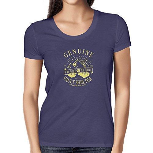 TEXLAB - Genuine Vault Shelter - Damen T-Shirt, Größe M, navy (Fallout 3 Vault Boy Kostüm)