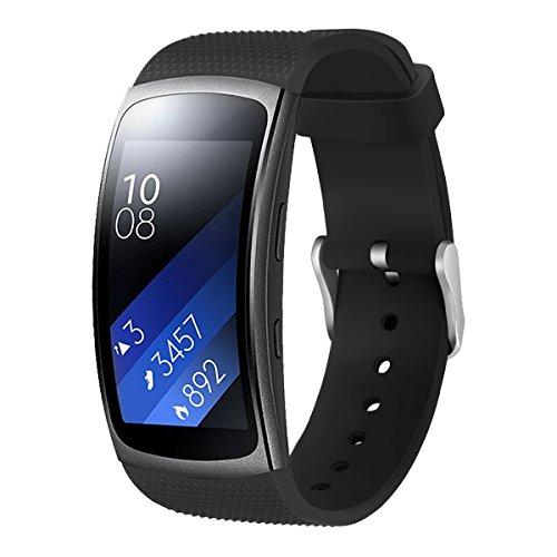 Aresh für Samsung Gear Fit 2 Zubehör uhrenarmband , weiche Silikon Ersatz Armband für Samsung Gear Fit 2 (Schwarz)