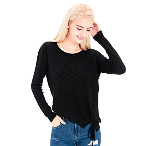 WanYang Femmes Casual Tricot Top Blouse Rétro épaule Off Manches Longues Sweater Courroies Tops Blouse Noir