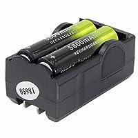 ZUILEE 2PCS Rechargeable 5800mAh Li-ion 18650 3.7V Battery & Dual Smart Charger 18650 battery + charger skywolfeye