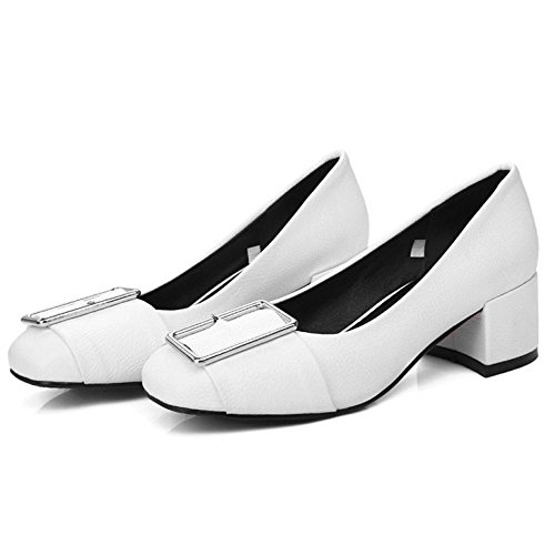 TAOFFEN Damen Klassischer Blockabsatz Schuhe Slip-On Pumps Mit Schnalle Weiß