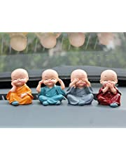 Great Art Set of 4 Handcrafted Miniature Decorative Buddha Monk Figurines Showpiece for Car Dashboard (Multicolor)