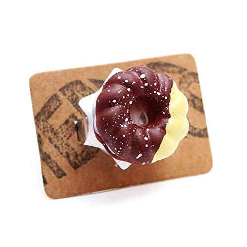 agle Ring silber - verstellbare Größe - Doughnut Kuchen Sahne Kaffee ()