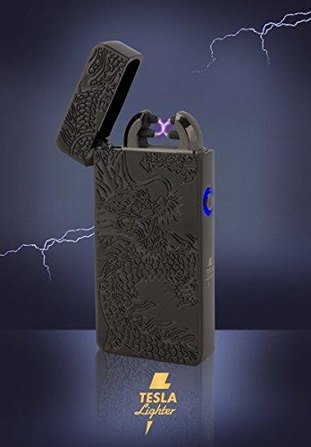 Tesla-Lighter T08 | Lichtbogen Feuerzeug, Plasma Double-Arc, elektronisch wiederaufladbar, aufladbar mit Strom per USB, ohne Gas und Benzin, mit Ladekabel, in edler Geschenkverpackung, Drache Schwarz
