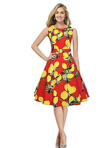 BOMOVO Damen Rundhals ärmellos Printkleider Elegant mini Retro Cocktail Vintage Kleid Rot