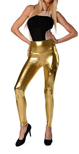 Dykmod Leggings Lang Gold, XXL - 44 (Damen Leggings Gold)