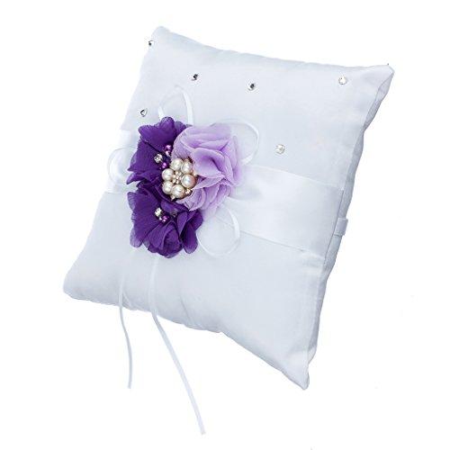 Hochzeit Ringkissen Kissen Inhaber Kristall Perle Blume - Lila