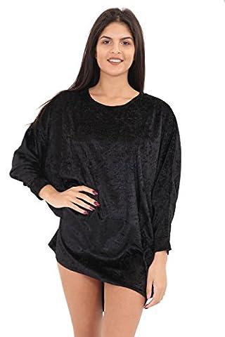 Womens Ladies Crushed Velvet Velour Batwing Top Shirt Blouse Dress