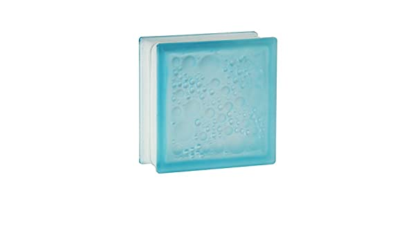 5 pi/èces FUCHS briques de verre savona azur 2 face satin/ée 19x19x8 cm verre d/époli