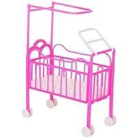 bismarckbeer Dollhouse Furniture Miniature Pulley Crib for Barbie Dollhouse Bedroom Kids Toy