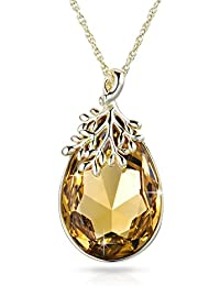 "Alantyer ""Happy Olive Leaf"" Pendant Necklace for Women Mum with Teardrop Swarovski Crystal Gold Plated, Ideal Mothers Day Gifts"