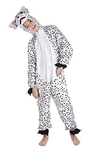 Fancy Ole - Kinder Motto-Party Karneval Kostüm Plüsch Dalmatiner Onsie, Jumpsuit Hund, 116-140, 6-10 Jahre, Weiß (Plüsch Dalmatiner Kinder Kostüme)
