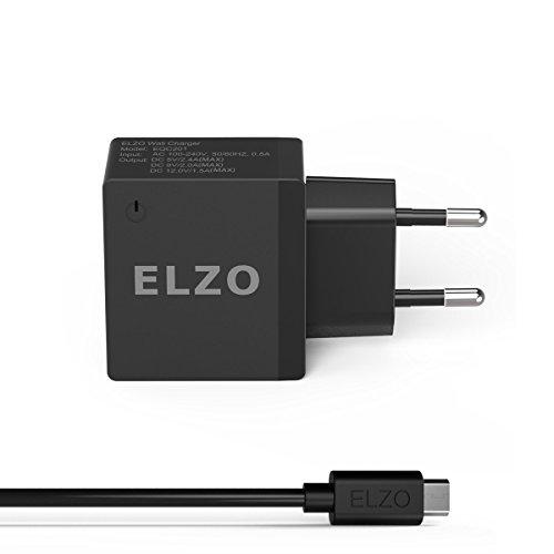 ELZO Quick Charge 2.0 Caricatore USB a Muro 18W, Portatile Caricabatterie da Viaggio per Samsung Galaxy S7 Edge/S6 Edge Note 5, HTC One M8/M9, Sony Xperia Z4/Z5, LG G3/G4/G5, Google Nexus 6, ECC.