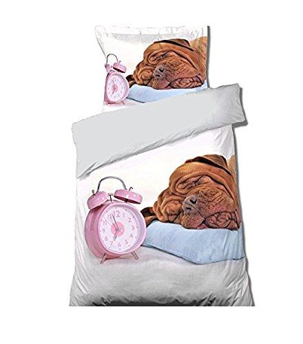 Réveil Bettbezug + Kissenbezug für Einzelbett, Hundemotiv, 100 % ()