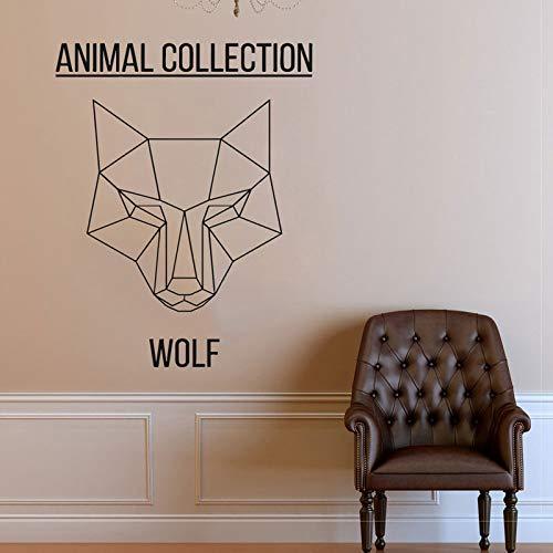 Polygonal Wolf Kopf Wandtattoo Abstrakte Tiere Anime Wand Vinyl Aufkleber Scandi Minimalistic Monochromatische Kunst Dekor 38X42CM