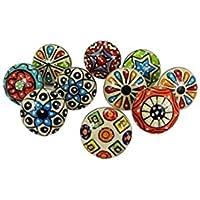 Dorpmarket 10pièces Ensemble de boutons de cabinet coloré en céramique à pois Poignée de meuble tiroir