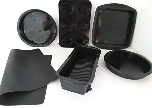 WellBake Professional 6 Pce Cake & Bake Set. Superior Quality. Silicone Bakeware 10 Year Guarantee including 2 - 6 Mini Muffin