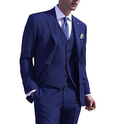 9d465971ae20eb Lilis® Herren New Fashion Royal Blue Herren Anzug 3 Stück Hochzeit Anzüge  Bräutigam Smoking