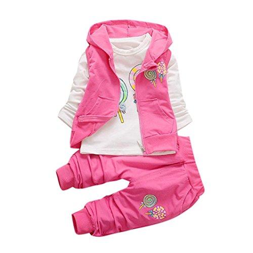 VENMO Kleinkind Kinder Kleidung Set Lutscher Lange Ärmel Drucken T-Shirt Sweatshirt Sweatblazer + Baumwolle niedliche Collegejacke Kapuzenweste Vest + Lose Chic Hosen Outfits (100, Hot Pink) (Mode Muster Bowknot)