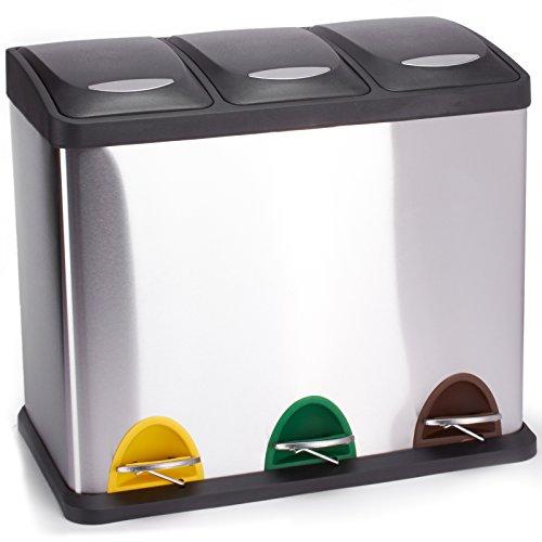 *MSV Mülleimer Mülltrennsystem 24 L (3×8 Liter) mit Inneneimer große Abfallbehälter Abfalleimer Treteimer Edelstahl*