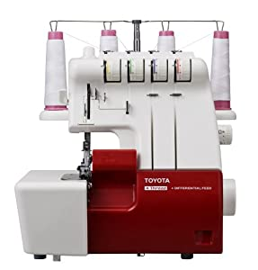 Máquina de coser Toyota SLR4D - overlock, compacta, velocidad de costura 1500 rpm, color rojo/blanco