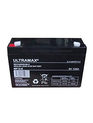 Ultramax Batteria ricaricabile per auto giocattolo NP12-6, tensione 6 V, capacità 12 Ah/20 HR (come 10Ah)