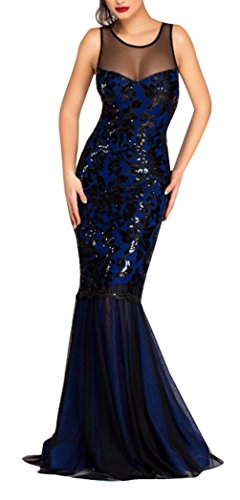 Blansdi Damen Elegant Ärmellos Netz-Garn Fishtail Abenkleid Ballkleid Partykleid mit Pailletten Festliches Brautkleid Lange Cocktailkleid Dunkelblau