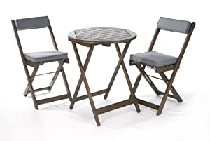 Greenhurst Solid Acacia 2 Seater Patio Set with Round Bistro Table in Grey and matching Grey Padded Cushions