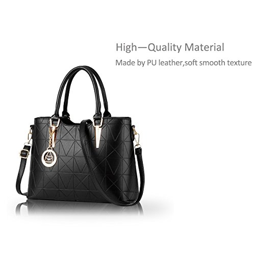 Nicole&Doris Borsa delle signore diagonali mano casuale nuova borsa a mano di spalla di modo di stile(Purple) nero