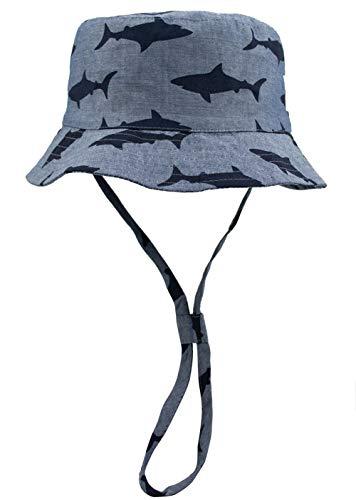 Foruhoo Baby Sonnenhut Kinder Hut, Sommerhut Mütze for Jungen Mädchen mit Verstellbar Kordelzug (52cm / 2-4 Jahre,Hai grau)