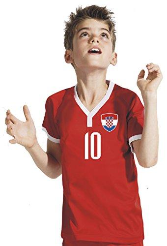 Kroatien Kinder Trikot - Hose Stutzen inkl. Druck Wunschname + Nr. Rot WB WM 2018 (140)