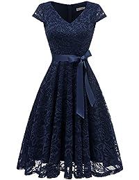 Berylove Damen V-Ausschnitt Kurz Brautjungfer Kleid Cocktail Party Floral Kleid BLP7006NavyL