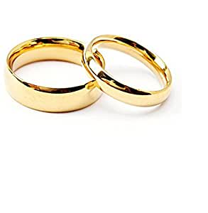 Stainless Steel Golden Couple Matching Wedding Rings Men U0026 Women:  Amazon.in: Jewellery