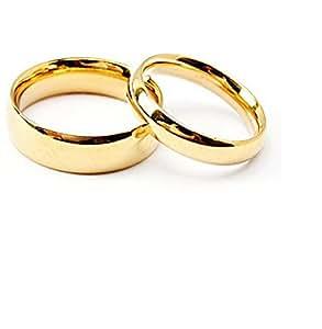 Stainless Steel Golden Couple Matching Wedding Rings Men U0026 Women:  Amazon.in: Jewellery