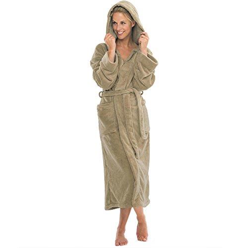Bademantel mit Kapuze Damen Herren Morgenmantel weich super flauschig Fleece Saunamantel lang Malibu M Taupe
