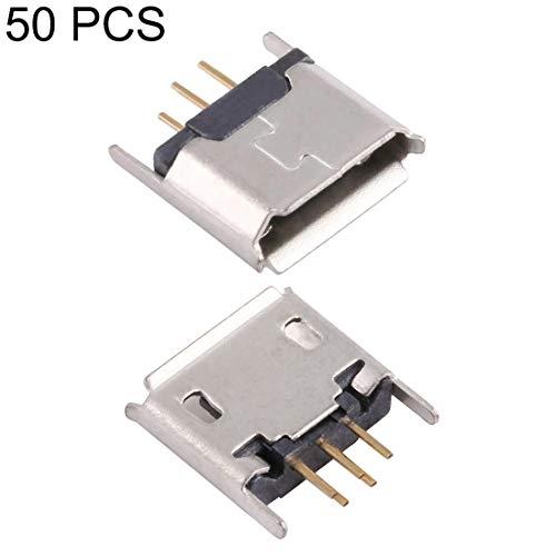 IPartserve Computerzubehör JAA 50 PCS Micro USB 5P / F 180 Grad verlängerter Nadelverbinder mit Crimpung, galvanisiert und mit Zinnfolie beschichtet