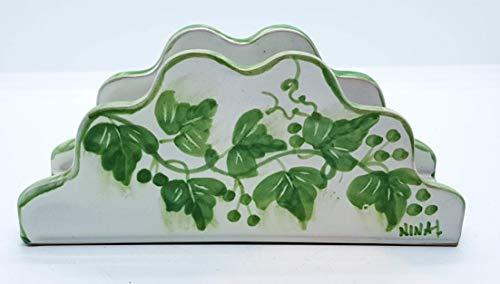 Portatovaglioli ceramica linea edere pezzo unico handmade le ceramiche del castello made in italy
