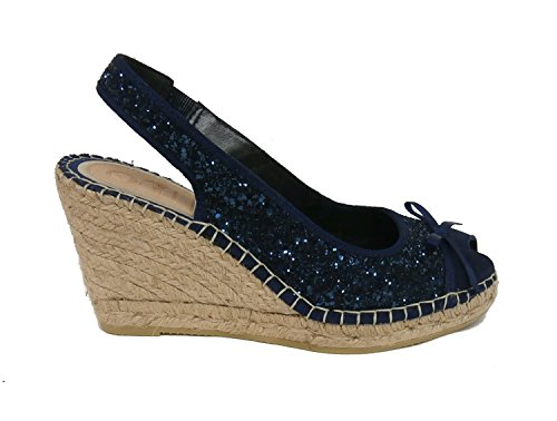 Vidorreta sandalo glitter zeppa corda 23400 blu nr.37