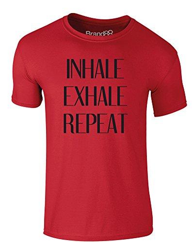 Brand88 - Inhale, Exhale, Repeat, Erwachsene Gedrucktes T-Shirt Rote/Schwarz