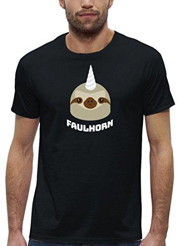 Einhorn Faultier Premium Herren T-Shirt aus Bio Baumwolle Faulhorn Stanley Stella Black