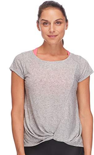 Body Glove Damen Gale Classic Boatneck FIT Activewear TOP Yoga-T-Shirt, Grey Heather, X-Klein -