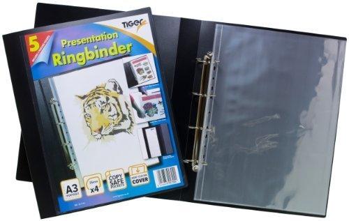 Schwarz Portfolio-ordner (Tiger A3Deluxe Hochformat 4D Ringbuch Ordner Datei Art schwarz Präsentation Portfolio + 5Hüllen Originalverpackung)