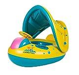 Fletion Baby Schwimmen Boot Kinder Aufblasbar Schwimmreifen Baby Schwimmring mit Sonnendach