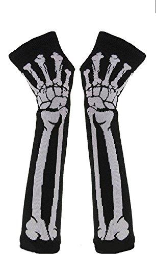 Butterme Welche Art und Weise Frauen Winter warm gestrickten Skelett Knochen lange fingerlose Handschuhe (Skelett Fingerlose Handschuhe)