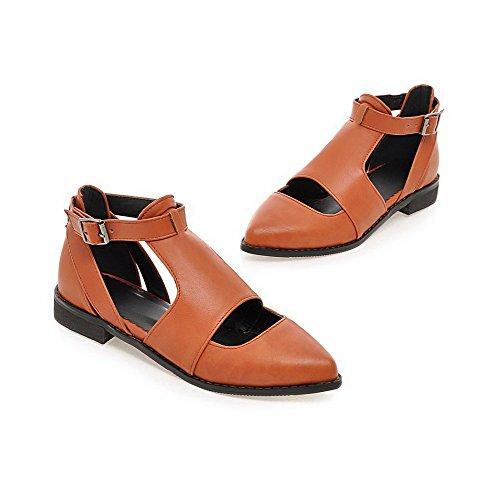 VogueZone009 Femme à Talon Bas Pu Cuir Couleur Unie Boucle Pointu Chaussures Légeres Jaune