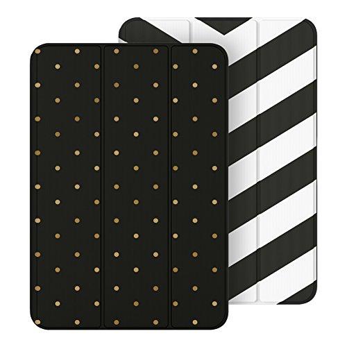 Belkin F7N307btC00 Reversible Cover, zweiseitig nutzbare Schutzhülle mit Standfunktion für Apple iPad Mini 1/2/3 schwarz gestreift/Gold Punkte