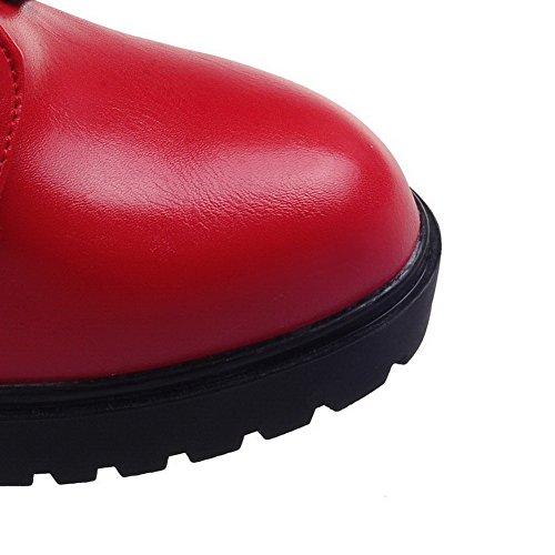 AgooLar Damen Eingelegt Hoher Absatz Rund Zehe Pu Leder Schnüren Stiefel mit Rivet Set Rot