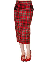 Banned 50's Vintage Style Tartan Pencil Wiggle Skirt Red